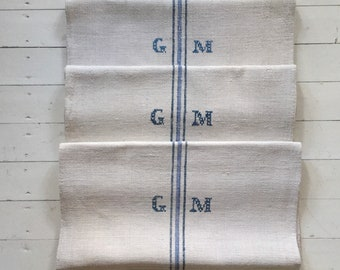 Navy and Viola Blue Stripe Monogrammed 'GM' Linen Vintage Grain Sack Off White Upholstery Bench Seat Pillow Cushions Bathroom Mat NS2004