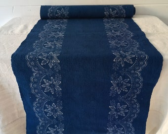 Blue Poinsetta Flowers Vintage Linen Upholstery -Price For Piece- DNL1921