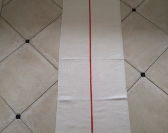NS1922  Natural Limestone Red Stripe Vintage Linen Grainsack