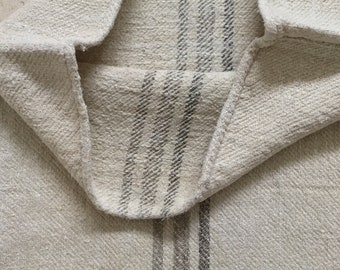 NS1867 Mushroom Coloured Stripes Twill Natural Vintage Linen Grainsack