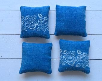 Faded Indigo Linen Lavender Pillows Bags Sachets