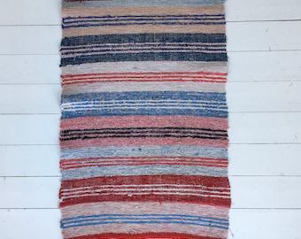 Vintage Swedish Rag Rug Multi Coloured Stripey Rag Rug Runner Upcycled 1930s Floor Cover European Interior Antique