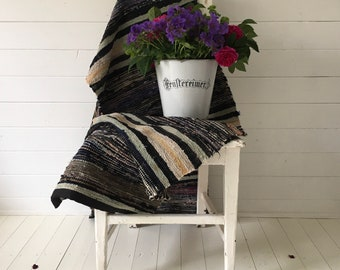 Vintage Swedish Rag Rug  Black Grey Purple and Natural Pastels Stripes Hand-made Rag Rug Runner Upcycled RR2009
