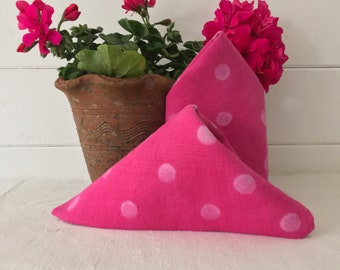 Hand Blocked Polka Dot, Hand Dyed Petal Pink 1 Pair Fine Linen Napkins  DN2000