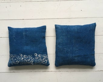 Indigo Linen Lavender Pillows Bags Sachets Hand Made Drawer WardrobeHungarian Natural Lavender LinenHand Dyed Indigo