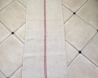 NS1279 Maroon Stripe Twill Natural Sandstone Vintage Linen Grainsack