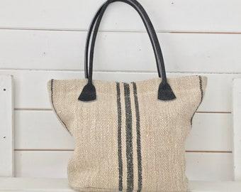 Upcycled Black Stripe Pocket Handbag