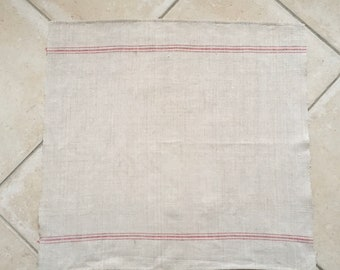 Red Stripe Tea Towel Linen Vintage Fabric Handmade Linen NTT2006