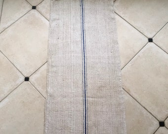 NS1876 Blue Stripe Natural Limestone Vintage Linen Grainsack