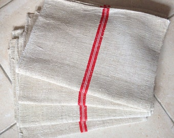 Matching Red and White Stripe Linen Grainsack Natural Sandstone