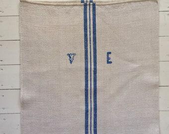 Blue Stripes Monogrammed 'VE' Linen Vintage Grain Sack Off White Upholstery Bench Seat Pillow Cushions Bathroom Mat NS2008