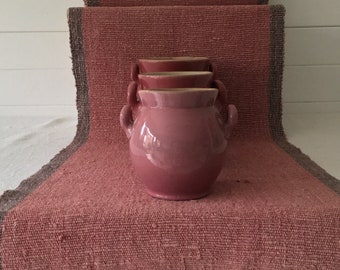 Faded Pink and Grey Linen  Floor or Table Runner Vintage Hungarian