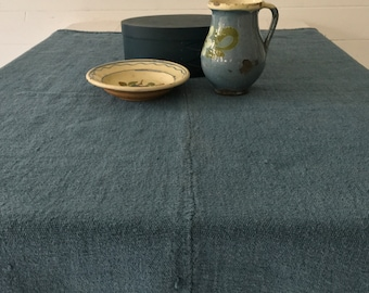 Grey Blue Dyed Vintage Linen Table Cloth Upholstery Fabric  for Sewing Projects Bench Seats Bolster Pillow Cushions Cover DTS2100