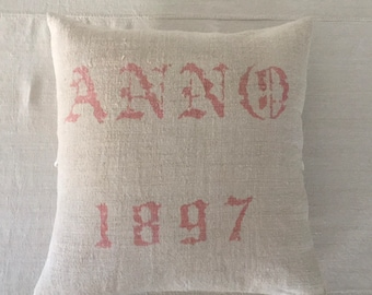 Pink Lettered Vintage Hungarian Hand Spun Linen Cushion Pillow COVER ONLY
