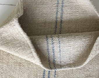 Blue Grey Faded Stripe on Stone Natural Vintage Linen Grainsack Sewing Projects Upholstery Bath Mat or Laundry Bag NS2109 Washed ready to Go