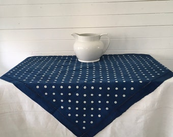 DCT1301 Indigo Blue Dyed Polka Dot + Plain Hungarian Vintage Fabric Cafe Tablecloth