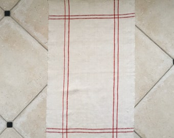 Red Stripe Tea Towel Linen Vintage Fabric Handmade Linen NTT 2004