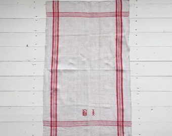 NTT1901 Red Stripe Tea Towel Linen for with 'BI' Monogram Vintage Fabric Handmade Linen