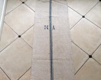 "NS1874 Blue Stripe Mono""NA"" Natural Limestone Vintage Linen Grainsack"