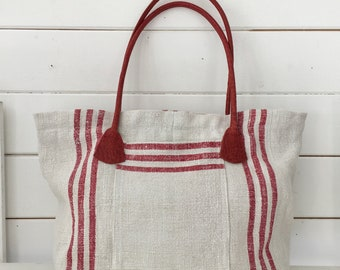 Upcycled Red Striped  Handbag Vintage Hungarian Striped Linen Leather Pockets Organiser Hand Bag