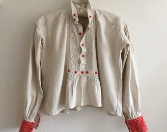 Natural Handspun Traditional  Ladies Shirt Vintage Shepherds Hungarian Folk Hand Sewn Threadwork Stitching Festival Day Wear Peasant