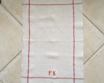 Red Stripe Tea Towel Linen PK Monogram Vintage Fabric Handmade Linen NTT 2002