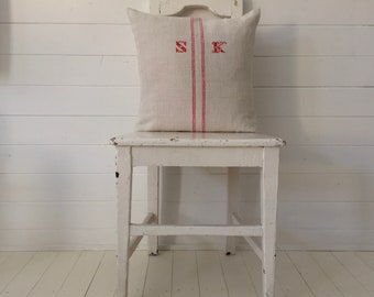 Vintage Hungarian Hand Spun Home Spun Cushion Pillow COVER ONLY Soft Pink Stripes Red SK Monogram Grain Sack Linen Rustic Interior Homeware