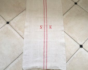 Monogrammed 'SK' Pink Striped Natural Limestone Vintage Linen Grainsack Fabric Striped Sewing Projects Upholstery Bath Mat or Laundry Bag