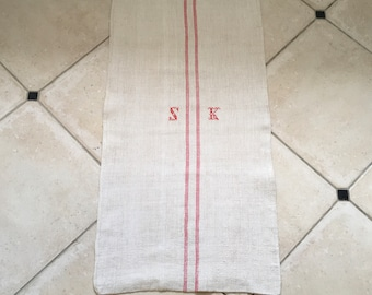 NS1858 Monogrammed 'SK' Pink Striped Natural Limestone Vintage Linen Grainsack