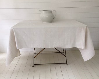 NTS1909 Cream Tablecloth /Sheet Linen for Tables Upholstery Projects Vintage Fabric Handmade Linen