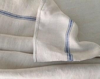 Blue Stripe Tea Towel Linen Vintage