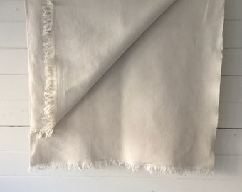 Off White Tablecloth Sheet Fine Hand Spun Linen with Open Thread Work Hems Sewing Projects Blinds Curtains Washed and ready to Go NTS2106