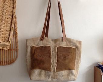 Upcycled Vintage Leather and Linen Brown Handbag