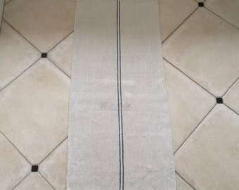 NS1879 Blue Stripe Natural Sandstone Vintage Linen Grainsack