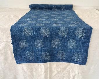 Indigo Grapeleaf Vintage Linen Upholstery Fabric - Price Per Metre -