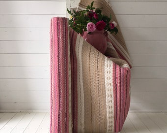 Swedish Rag Rug Stripes of Pinks, Beige and Naturals Upcycled Hand-made Floor Runner European RR2007