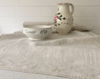 Natural Stone Vintage Soft Floppy Linen Table Runner Upholstery Fabric Cushions Sewing Projects NLR2113