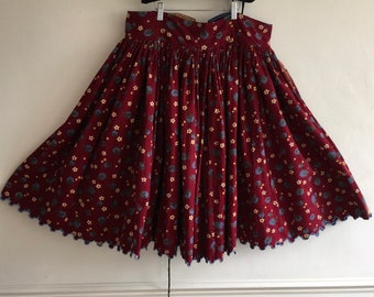 Brushed Cotton Maroon and Flowered Circle Skirt