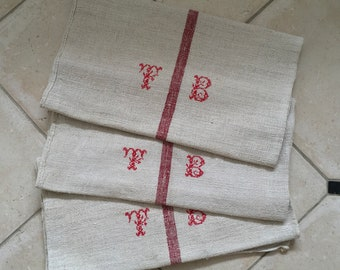 NS1827 Monogrammed 'TB' Natural Limestone Red Striped Vintage Linen Grainsack