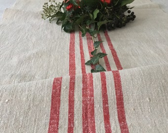 Red Stripes Fine Natural Cream Vintage Linen Roll Table Runner Upholstery Fabric Sewing Projects Upholstery Blinds Chairs NLR2025