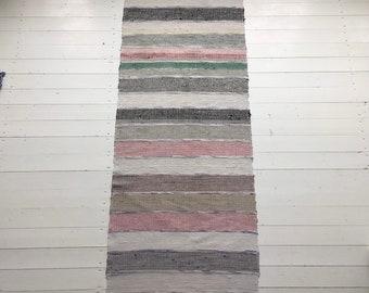 RR1904  Vintage Swedish Ragrug in Pastels Grey Blue Black Cream Pink Striped Rag Rug