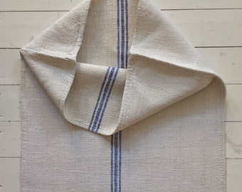 Viola Blue Stripe and Off White Vintage Linen Grain Sack Fabric Striped Sewing Projects Upholstery Bath Mat or Laundry Bag NS2010