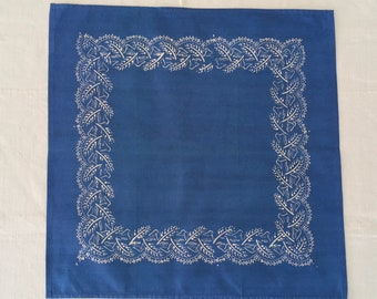 Hand Blocked and Hand Blue Dyed Fine Cotton Table Centrepiece/Napkin