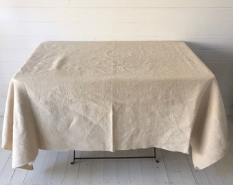 NTS2004 Stone/Sandy Tablecloth /Sheet Linen for Tables Upholstery Projects Vintage Fabric Handmade Linen