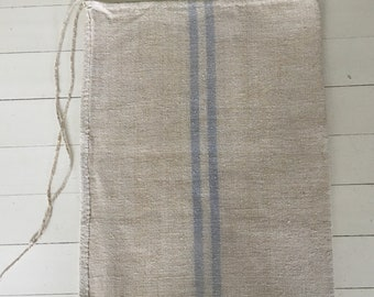 Pale Blue Faded Stripe on Oatmeal Vintage Linen Grainsack Sewing Projects Upholstery Bath Mat or Laundry Bag NS2111 Washed ready to Go