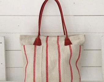 Upcycled Red Stripe Pocket Handbag Vintage Hungarian Striped Linen Leather Straps Pockets Organiser Hand Bag
