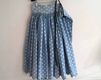 Pale Blue Spot Circle Skirt Vintage Hungarian Folk Skirt with Hand Embroidered Scalloped Hem