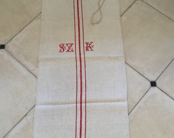 NS1727 Red Stripe Twill Monogrammed SZK Vintage Linen Grainsack Fabric