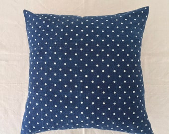 Vintage Hungarian Hand Spun Indigo Polka Dot Linen Cushion Pillow COVER ONLY