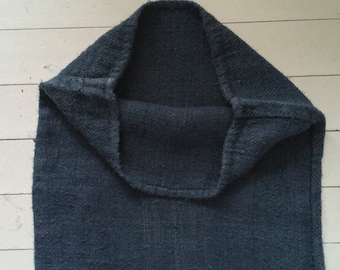 Slate Blue Dyed Vintage Linen Grain Sack with Faint Sandy Stripe Upholstery Fabric Sack for Sewing Projects Bath Mat Pillow Cushions DNS2004